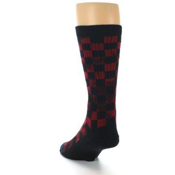 Image of Black Red Checkered Men's Athletic Crew Socks (side-2-back-16)