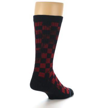 Image of Black Red Checkered Men's Athletic Crew Socks (side-1-back-21)