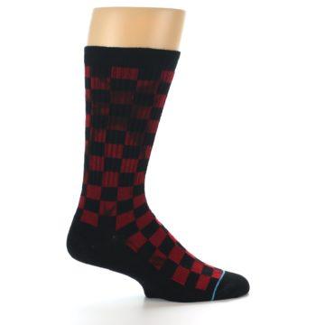 Image of Black Red Checkered Men's Athletic Crew Socks (side-1-24)