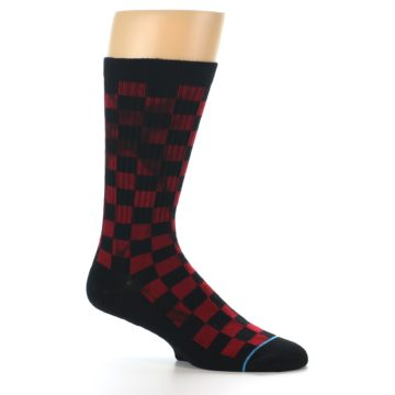 Image of Black Red Checkered Men's Athletic Crew Socks (side-1-25)