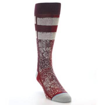 Image of Red White Floral Pattern Men's Dress Socks (side-1-front-02)