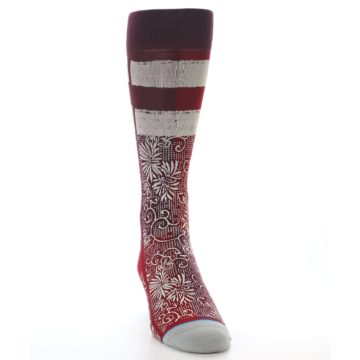 Image of Red White Floral Pattern Men's Dress Socks (side-1-front-03)