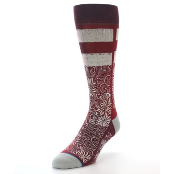 Image of Red White Floral Pattern Men's Dress Socks (side-2-front-07)