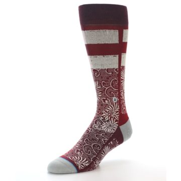 Image of Red White Floral Pattern Men's Dress Socks (side-2-front-08)