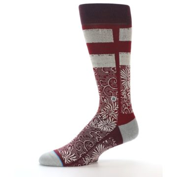 Image of Red White Floral Pattern Men's Dress Socks (side-2-10)