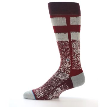 Image of Red White Floral Pattern Men's Dress Socks (side-2-11)
