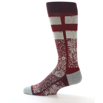 Image of Red White Floral Pattern Men's Dress Socks (side-2-12)