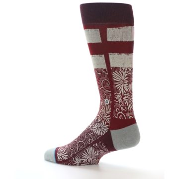 Image of Red White Floral Pattern Men's Dress Socks (side-2-13)