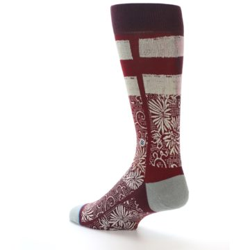 Image of Red White Floral Pattern Men's Dress Socks (side-2-back-14)