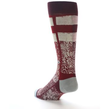 Image of Red White Floral Pattern Men's Dress Socks (side-2-back-15)