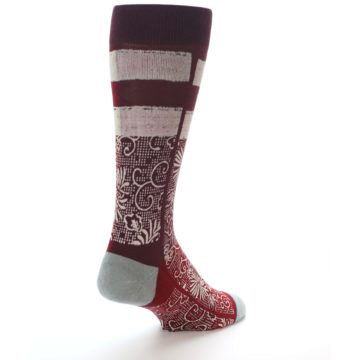 Image of Red White Floral Pattern Men's Dress Socks (side-1-back-21)