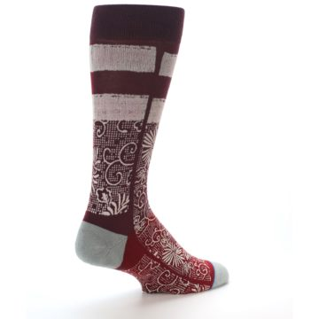 Image of Red White Floral Pattern Men's Dress Socks (side-1-back-22)