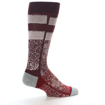 Image of Red White Floral Pattern Men's Dress Socks (side-1-23)