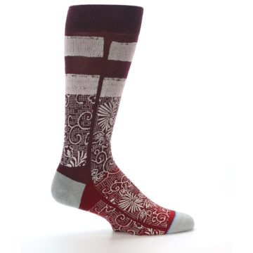 Image of Red White Floral Pattern Men's Dress Socks (side-1-24)