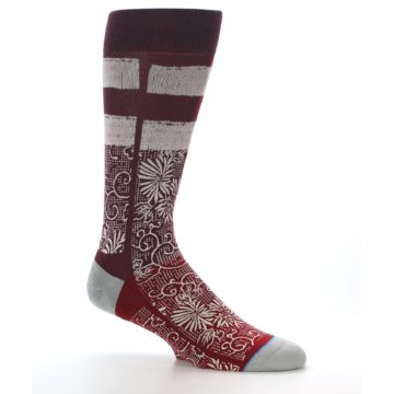 Image of Red White Floral Pattern Men's Dress Socks (side-1-25)