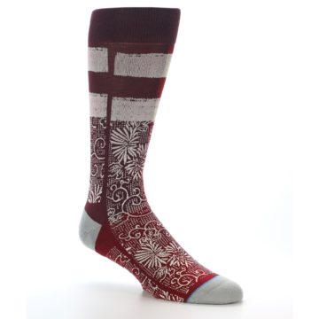 Image of Red White Floral Pattern Men's Dress Socks (side-1-26)