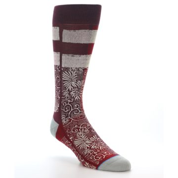 Image of Red White Floral Pattern Men's Dress Socks (side-1-27)