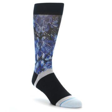 Image of Black Blue Floral Pattern Men's Dress Socks (side-1-front-01)