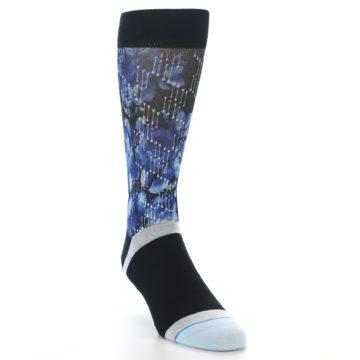 Image of Black Blue Floral Pattern Men's Dress Socks (side-1-front-02)