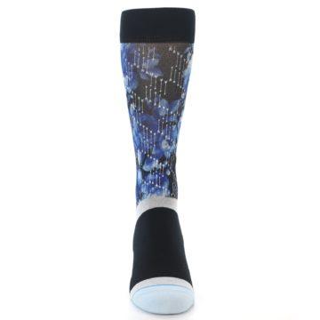 Image of Black Blue Floral Pattern Men's Dress Socks (front-04)
