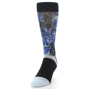 Image of Black Blue Floral Pattern Men's Dress Socks (side-2-front-06)