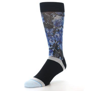 Image of Black Blue Floral Pattern Men's Dress Socks (side-2-front-08)
