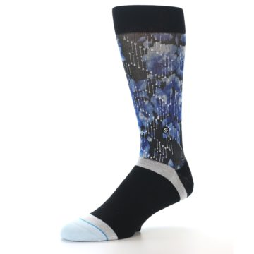 Image of Black Blue Floral Pattern Men's Dress Socks (side-2-09)