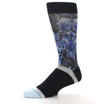 Image of Black Blue Floral Pattern Men's Dress Socks (side-2-10)