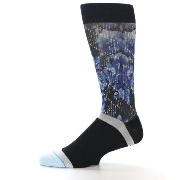 Image of Black Blue Floral Pattern Men's Dress Socks (side-2-11)
