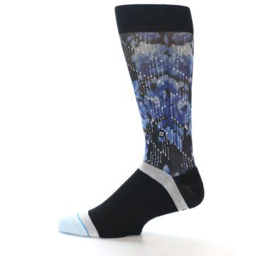 Image of Black Blue Floral Pattern Men's Dress Socks (side-2-12)