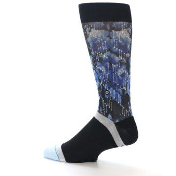 Image of Black Blue Floral Pattern Men's Dress Socks (side-2-13)