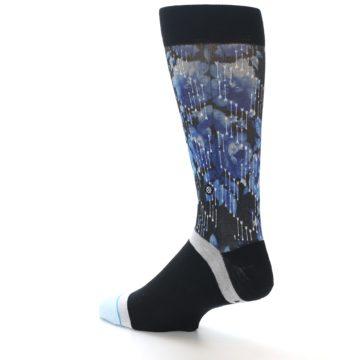 Image of Black Blue Floral Pattern Men's Dress Socks (side-2-back-14)