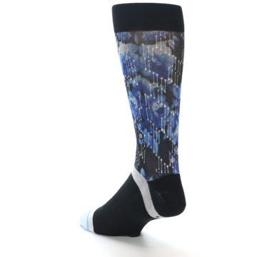 Image of Black Blue Floral Pattern Men's Dress Socks (side-2-back-15)