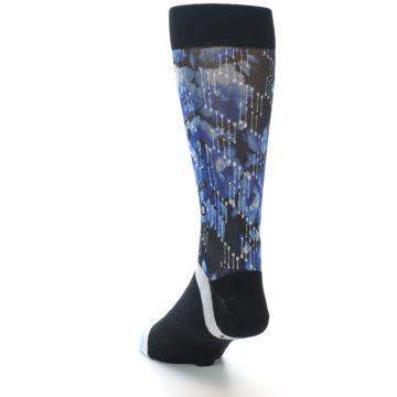 Image of Black Blue Floral Pattern Men's Dress Socks (side-2-back-16)