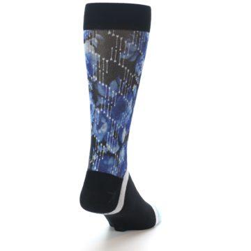 Image of Black Blue Floral Pattern Men's Dress Socks (side-1-back-20)