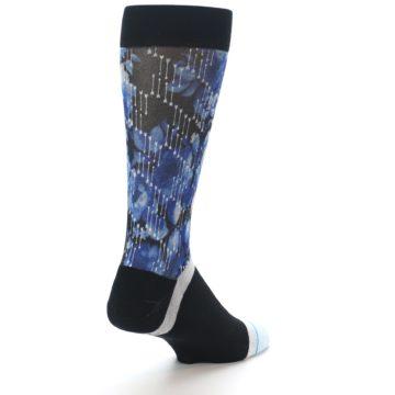 Image of Black Blue Floral Pattern Men's Dress Socks (side-1-back-21)
