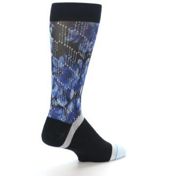 Image of Black Blue Floral Pattern Men's Dress Socks (side-1-back-22)