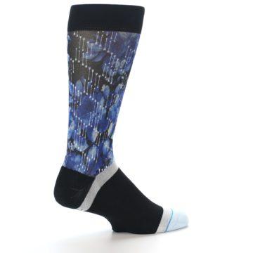 Image of Black Blue Floral Pattern Men's Dress Socks (side-1-23)