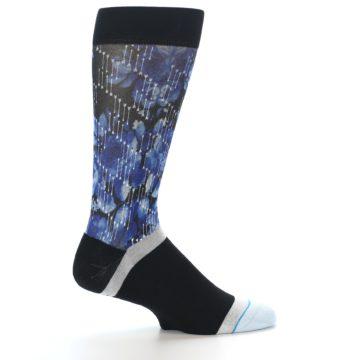 Image of Black Blue Floral Pattern Men's Dress Socks (side-1-24)