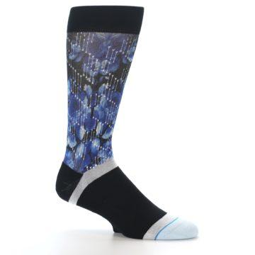 Image of Black Blue Floral Pattern Men's Dress Socks (side-1-25)
