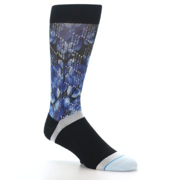 Image of Black Blue Floral Pattern Men's Dress Socks (side-1-26)