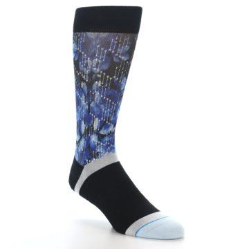 Image of Black Blue Floral Pattern Men's Dress Socks (side-1-27)
