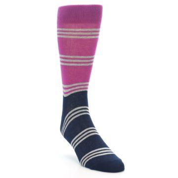 Image of Fuchsia Navy Stripe Men's Dress Socks (side-1-front-02)