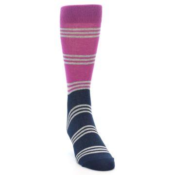 Image of Fuchsia Navy Stripe Men's Dress Socks (side-1-front-03)