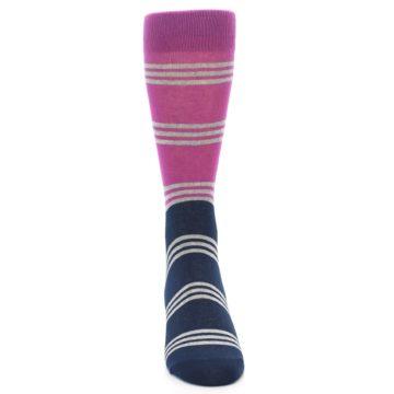 Image of Fuchsia Navy Stripe Men's Dress Socks (front-04)