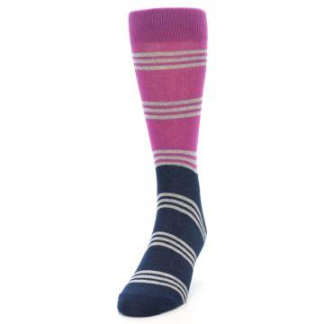 Image of Fuchsia Navy Stripe Men's Dress Socks (side-2-front-06)
