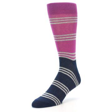 Image of Fuchsia Navy Stripe Men's Dress Socks (side-2-front-08)