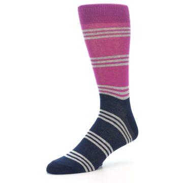 Image of Fuchsia Navy Stripe Men's Dress Socks (side-2-09)