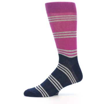 Image of Fuchsia Navy Stripe Men's Dress Socks (side-2-11)