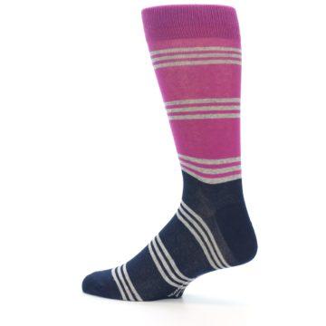Image of Fuchsia Navy Stripe Men's Dress Socks (side-2-13)
